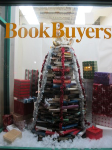 Book Buyers holiday tree in their window.