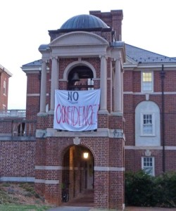"A ""No Confidence"" banner hangs off the Sweet Briar bell tower - a symbolic heart of campus."
