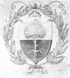 "An example of a ""rise vine"" in heraldry, framing important symbols."