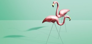 "The original ""pink perfection"" flamingos were sold as a pair - one looking down and the other boldly forward."