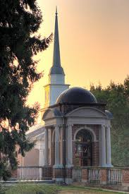 The Chapel steeple rises above the Bell Tower.