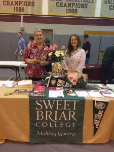 Alumnae at work: Sara Rothamel and me at the Broadneck College Fair.
