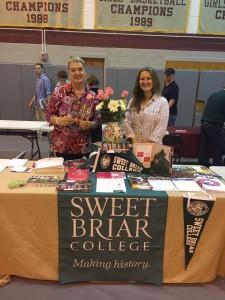 Alumnae at work: Sara Rothamel and me at the Broadneck College Fair.